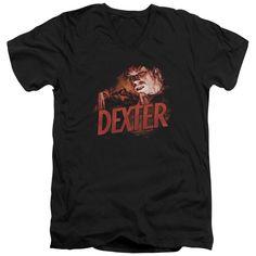 DEXTER/DRAWING - S/S ADULT V-NECK - BLACK -
