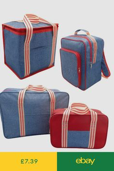 2a1314c11e Denim Striped Insulated Cooler Bag Backpack Set Camping Travel Beach Lunch  Bag