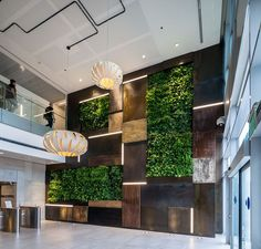 Office Design Rustic Office Spaces - This Office Combines Modern Amenities with a Rustic Charm. Green Office, Rustic Office Design, Lobby Design, Rustic Office, Industrial Office Design, Modern Interior Design, Modern Office Interiors, Office Interior Design, Wall Design