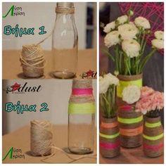 Μετατρέψτε τα παλιά σας μπουκάλια σε διακοσμητικά βάζα για λουλούδια