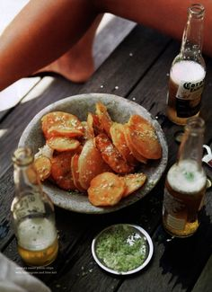tempura sweet potato chips with lemongrass + lime salt.