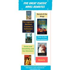 Sometimes called converted classics or classic novel rewrites, these five are some of the best: Bored of the Rings, A Halloween Carol, Peter & the Starcatchers, Beauty and Sense & Sensibility & Seamonsters. A more complete list can be found at PurdyBooks.com.