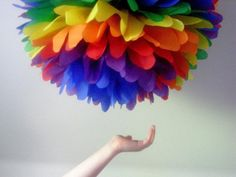 RAINBOW tissue paper pompom / first birthday party decor / circus carnival happy fun bright festive / lgbt gay pride from PomLove Tissue Paper Decorations, Rainbow Party Decorations, Rainbow Parties, Rainbow Birthday Party, Rainbow Theme, Rainbow Wedding, Tissue Paper Flowers, Unicorn Birthday Parties, First Birthday Parties