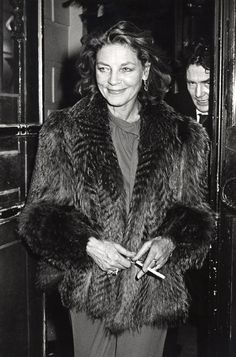 Lauren Bacall 1979, NYC attending Woody Allen's New Year's Eve party