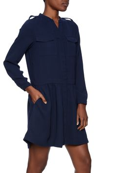 Navy drop waist dress features a button down front and pockets.   Navy Drop Waist Dress by FRNCH. Clothing - Dresses - Long Sleeve New York City Brooklyn, New York City