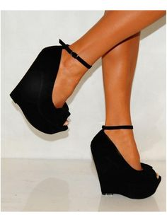 Koi Couture Ladies Black Suede Bow Strappy Platform Wedges Shoes