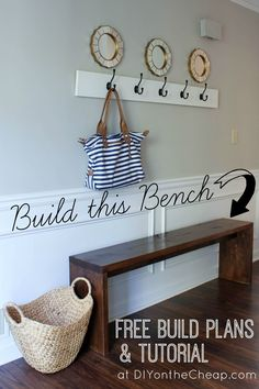 Build this entryway bench! Simple build plans and a tutorial available at DIY on the Cheap.