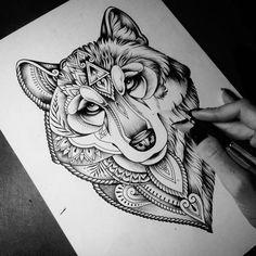 Cute Tattoos, Body Art Tattoos, Tattoo Drawings, Tribal Tattoos, Tattoos For Guys, Sleeve Tattoos, Wolf Face Tattoo, Wolf Girl Tattoos, Elephant Tattoo Design