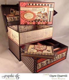 Sporting Keepsake Box & mini album by Clare Charvill using Good ol' Sport #graphic45