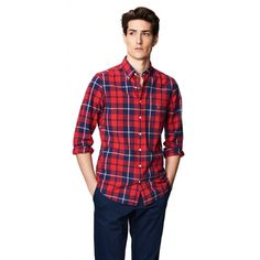 Oxford Madras Check Fitted Button Down Shirt