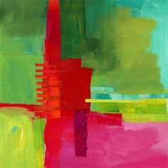 Green-Red - 10x10 mixed media on wood panel - Jane Davies