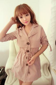 Korean Fashion Turndown Collar Long Sleeve Single Breasted Pink Trench