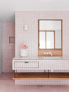 The millennial pink bathroom at Beach House is singing in Vogue Living this month- have you got your copy? Wood Bathroom, Bathroom Colors, White Bathroom, Bathroom Interior, Home Interior, Bathroom Beach, Blush Bathroom, Pink Bathroom Tiles, Mosaic Bathroom