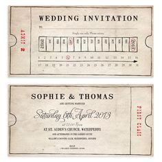 Browse our luxury range of Vintage Wedding Invitations. With options for all budgets, you're sure to find your perfect Vintage Wedding Invitations with Paper Themes. Unusual Wedding Invitations, Personalised Wedding Invitations, Wedding Invitation Design, Wedding Stationary, Invites, Wedding Stationery Inspiration, Ticket Design, Simple Elegant Wedding, Bus Tickets