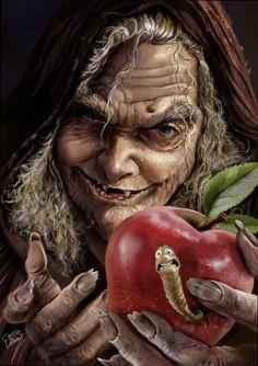 by Cris de Lara digital illustration, digital art, fairy tales, fairi, apples, digital media, character design, artwork, snow white