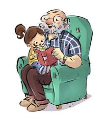 Granddaughter and grandfather reading a book in the armchair - Dibustock, Ilustraciones infantiles de Stock Family Illustration, People Illustration, Illustration Artists, Cute Cartoon Boy, Cartoon Kids, Baby Girl Drawing, Plate Drawing, Character Art, Character Design