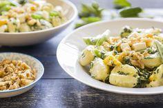 Three-Cheese Gnocchi - with Spinach-Basil Pesto and Walnuts Spinach Basil Pesto, Pasta Noodles, Pasta Salad, Potato Salad, Good Food, Cheese, Eat, Ethnic Recipes, Gnocchi