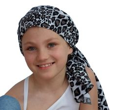 Ava Joy Children's Scarf - White Cheetah - a Cancer, Chemo, Alopecia Pre-Tied Head Scarf, Hat, Head Cover for Children with hair loss