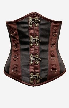 1341 Black and Brown Steel Boned Steampunk Underbust Corset