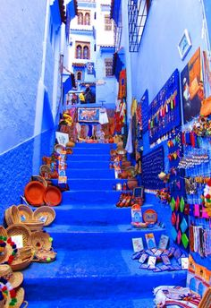 This photo shows some the the handicrafts that tourists can buy in the Blue City of Morocco.