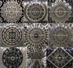 Indian Mandala Tapestry Black And White Wall Hanging Hippie Bedspread Dorm Decor #Handmade #ArtDecoStyle
