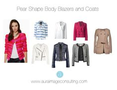 WHAT TO LOOK FOR IN YOUR OVER PIECES:  Double breasted jackets - Shoulder pads - Less fitted at the waist - Narrow lapels (collars) - Chanel style - Military - Mandarin collar - Bright, light or vibrant prints and colors.