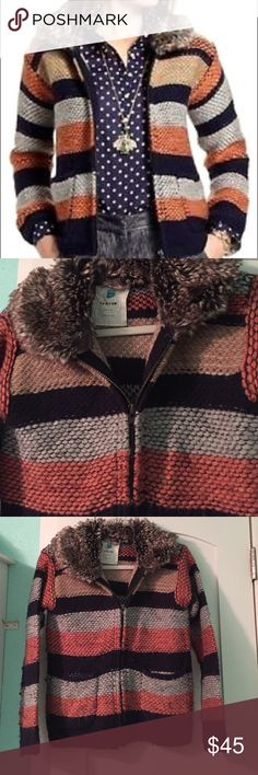 Anthropologie striped sweater, faux fur So warm! Wool & fake fur, Sparrow brand. Size xs, fits like a small. Worn frequently- slight pilling but a razor/sweater trimmer would work great. Anthropologie Sweaters Cardigans
