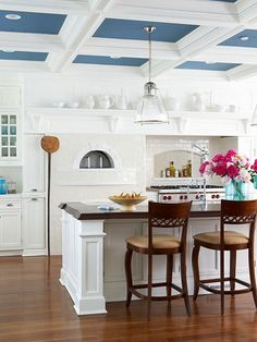 Add drama to your kitchen by painting the ceiling a bright color. See more of the latest kitchen trends on Centsational Style: http://www.bhg.com/blogs/centsational-style/2013/03/06/kitchen-trends-worth-embracing/?socsrc=bhgpin031213kitchentrends
