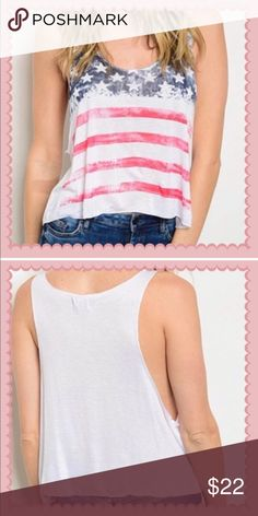 ✅Patriotic cropped tank. Memorial Day and July 4 t Scoop neck Flag graphic  Cropped hem Tank top 💯 % rayon Swanky Coconut Tops Crop Tops