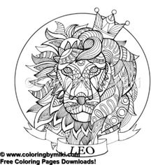 Zentangle Style Zodiac Leo Coloring Page 507 Freeprintable Coloringforadults Pattern