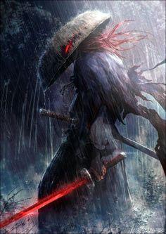 World of Our Fantasy - - Samurai Dark Fantasy Art, Fantasy Kunst, Fantasy Artwork, Dark Art, Fantasy Character Design, Character Art, Character Concept, Ninja Kunst, Art Ninja