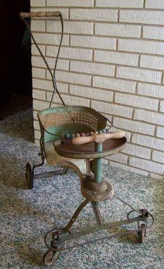 Antique 1940s Metal and Wood Baby StrollerWalker.