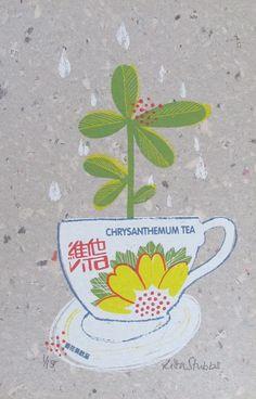 Chrysanthemum tea original screen print by lisastubbs on Etsy