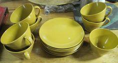 set of 7 Cups 8 plates of Lenotex dark mustard colored mid century modern $14.95