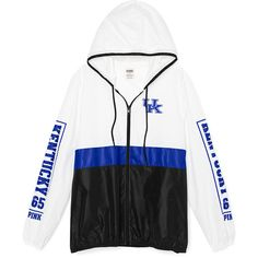 PINK University of Kentucky Anorak Full Zip ($60) ❤ liked on Polyvore featuring white