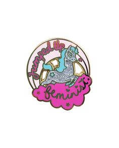 Jumped-Up Feminist Unicorn pin from @bravekidsclub  Who doesn't need a feminist pin that features a sparkly show-jumping Unicorn?! Buy it through their link in bio!