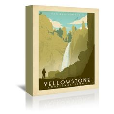 """East Urban Home National Park Yellowstone 02 Vintage Advertisement on Wrapped Canvas Size: 10"""" H x 8"""" W x 1.5"""" D"""