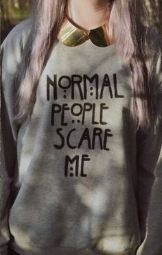 Sweater: amarican horror story grey black grunge pastel gold normal people scare me