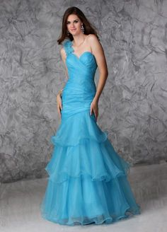 US$169.99 Wholesale A-line One-shoulder Blue Organza Long Prom Dress /Evening Dress Ct 30359 from - US.homecomingnightgirl.com