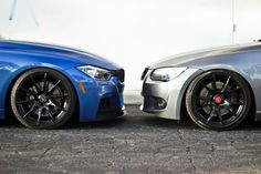 BMW F30 3 series blue and E92 3 series grey