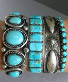 34g Vintage Old Pawn Navajo Turquoise Row Cuff Bracelet