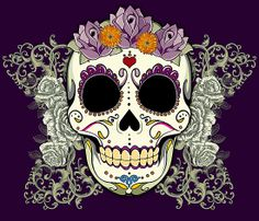 Vintage Skull and Flowers by Tammy Wetzel