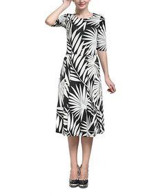 This Black & White Leaf Midi Dress is perfect! #zulilyfinds