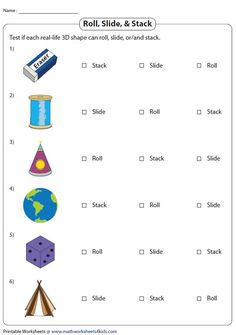 Rolling, Sliding, and Stacking Real-Life 3D Objects Introduction To Geometry, Geometry Worksheets, Real Life, Rolls, Objects, 3d, Buns, Bread Rolls