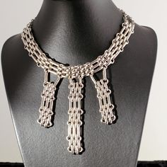 Art Deco French Dangling Necklace 1930s Modernist Jewelry Ring as a Clasp Dressy Great Quality Making. $180.00, via Etsy.