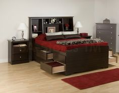 Bedroom,Fascinating Multifunction Wood Headboard Bed Design Ideas With The Best Large Platform Bed And Charming Dark Brown Dresser Also Nice Red Rug On Combined Light Brown Laminate Flooring,Single Bedroom With Headboard Beds Queen Size Bed Sets, Queen Size Bedding, Queen Beds, Bookcase Headboard King, Tall Bed Frame, Red Sheets, Cool Bookshelves, King Bedroom Sets, Dresser Sets
