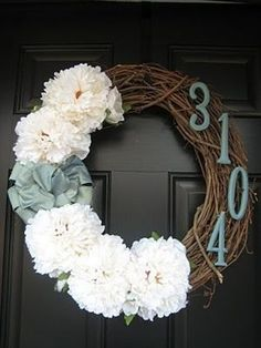 Unique Addresses–Fun DIY's that Make a Great 1st Impression - Domestically Speaking I really want to make a door wreath with grapevines, silk hydrangea,  ribbon and a wooden K (or M for Josh's and my first home)