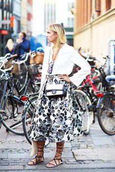 Flowy Top + Floral Print Midi Skirt + Lace Up Flat Sandals