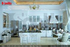 Không gian bếp cổ điển sử dụng gam màu trắng thanh nhã, tinh khiết, sạch sẽ, thoáng mát