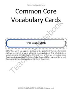 fifth grade common core standards vocabulary cards Math ELA from Velerion Damarke on TeachersNotebook.com -  (30 pages)  - Need extra help with Common Core? Check out these vocabulary cards for Common Core Math and Common Core ELA Standards. There are over 400 cards for grade 5.